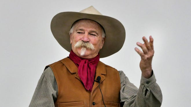 Jim Gray of Ellsworth, a cowboy storyteller, was the keynote speaker on Feb. 25 at the Cheney Lake Watershed Annual Meeting in Arlington.
