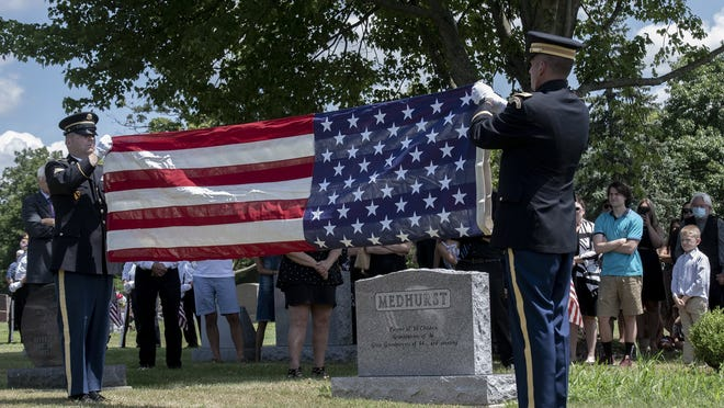 William Medhurst Sr. was buried with full military honors. Mr. Medhurst was a United States Army veteran who served in World War II.