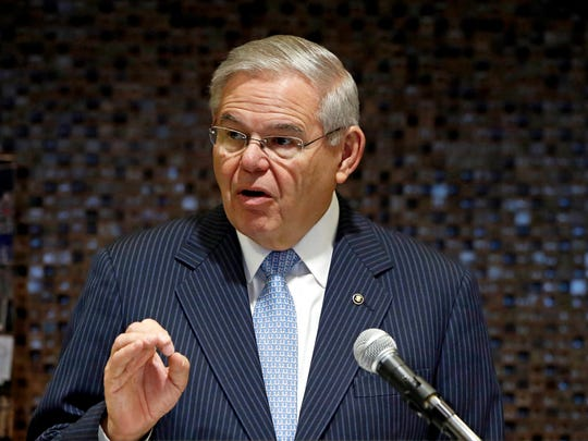 In this March 31, 2017, file photo, U.S. Sen. Bob Menendez, D-N.J., speaks during a news conference at Global Container Terminals USA in Jersey City, N.J.