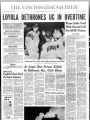 A look at the front page of Enquirer the day after University of Cincinnati fell to Loyola-Chicago in the national title game.