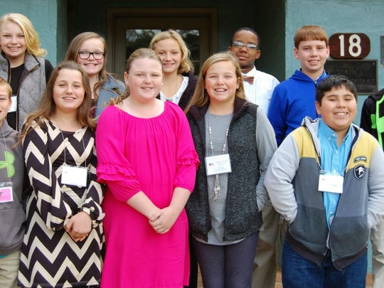Sixth Graders in front row from left to right are Trinity Cruse, Hope Witcher, Gracie Ann Ray, Chloe Marchman and Nicholas Lopez; and in back row are Cali Beebe, Kinsley Allen, Cameron Heaton, Stacy Adams, Daniel Leard and Cole Smith.