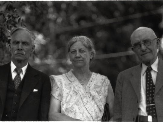 Libby Coy Lawrence with Leonidas Loomis, left, and Dr. George Glover, right. The three made up the first graduating class at Colorado Agricultural College in 1884. They're pictured here at their 50th reunion.