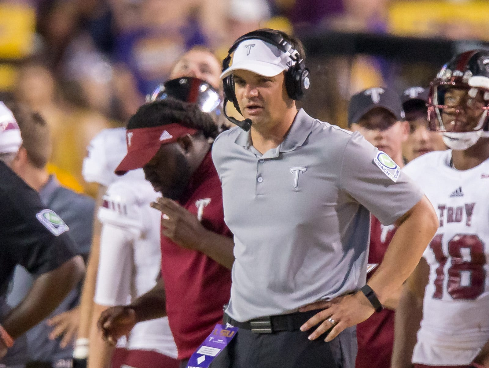 Sep 30, 2017; Baton Rouge, LA, USA; Troy Trojans head coach Neal Brown looks on during the game between the LSU Tigers and the Troy Trojans at Tiger Stadium. Troy Trojans won 24-21.