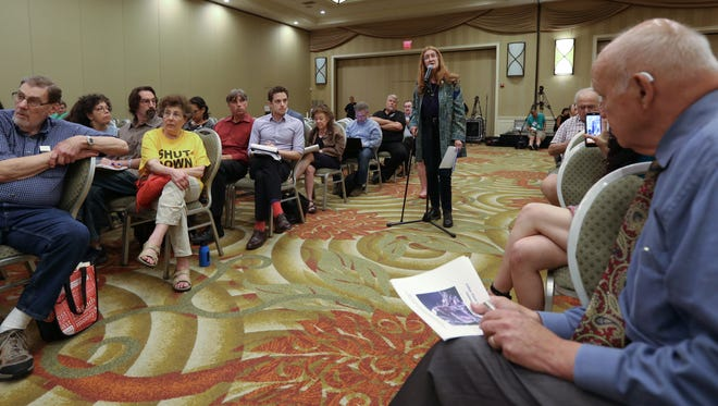 Nancy Vann, president of SEnRG speaks during the Nuclear Regulatory Commission's annual assessment of the Indian Point nuclear power plant at the Hilton DoubleTree in Tarrytown June 14, 2017.