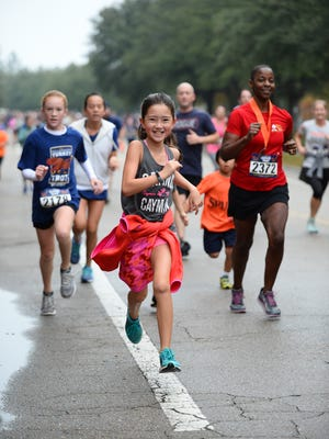 Young runners at the annual Turkey Trot in Southwood, a family running affair.