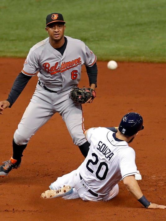 Baltimore Orioles second baseman Jonathan Schoop, top, watches his throw to complete a double play after forcing out Tampa Bay Rays' Steven Souza Jr. (20) during the fifth inning of a baseball game Monday, July 24, 2017, in St. Petersburg, Fla. (AP Photo/Mike Carlson)