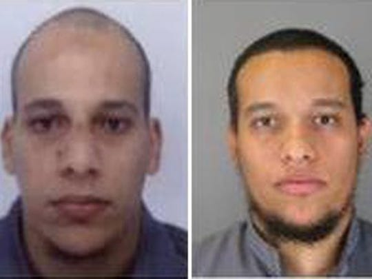 French police Cherif Kouachi, 32, (L) and his brother Said Kouachi, 34, (R) suspected in connection with the shooting attack at the satirical French magazine Charlie Hebdo headquarters.