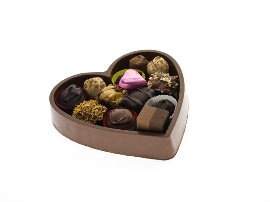 Edible Heart Box is made by Krause's Chocolate.