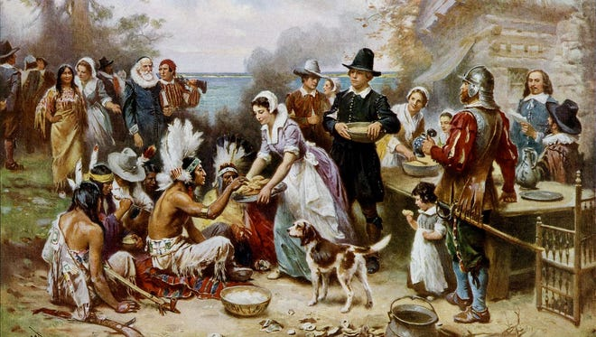 """""""The First Thanksgiving,"""" painted by Jean Leon Gerome Ferris."""