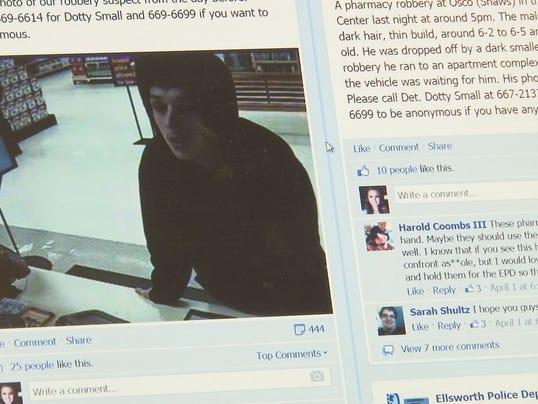 Ellsworth Police use Facebook to find criminals.