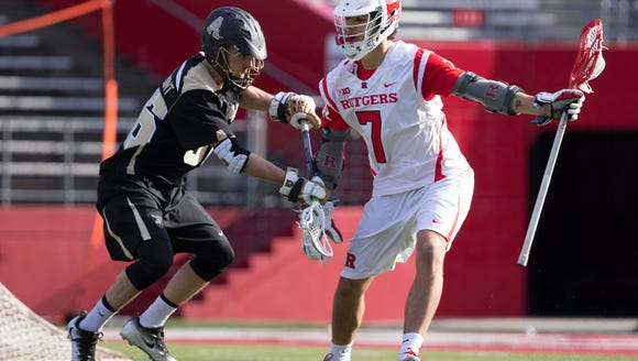 Rutgers attackman Jules Heningburg in action earlier