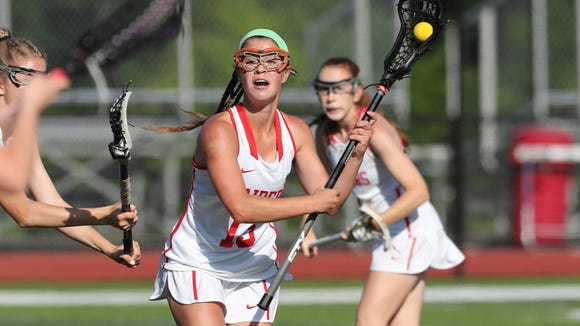 North Rockland's Kerri Gutenberger (13) works the ball