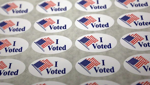 Voting stickers await votes at the Coxhall and Clay