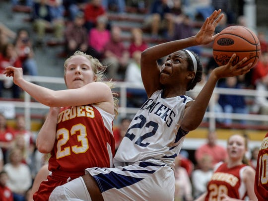 Lebanon Catholic's Neesha Pierre rises up for a layup during the Beavers' 25-21 loss to Lourdes in the PIAA Class A tournament quarterfinals on Saturday.