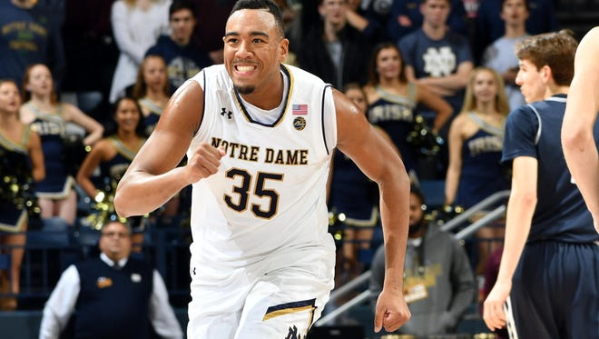 Nov 13, 2017; South Bend, IN, USA; Notre Dame Fighting Irish forward Bonzie Colson (35) reacts after being fouled in the first half against the Mount Saint Mary's Mountaineers at the Purcell Pavilion. Mandatory Credit: Matt Cashore-USA TODAY Sports