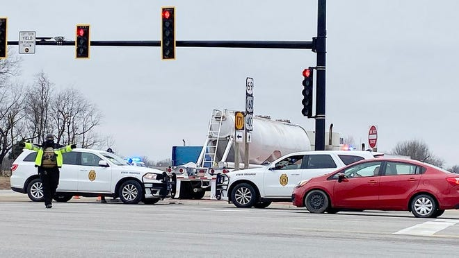 Crawford County Sheriff's Office and Kansas Highway Patrol guiding traffic after wreck at US-69 and US-400 junction on Tuesday, Jan. 26.