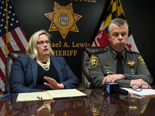 Wicomico County State's Attorney Jamie Dykes speaks alongside Wicomico County Sheriff Mike Lewis during a press conference about a horse farm on Cherry Walk Road, where many horses were found either dead or malnourished on Tuesday, March 20, 2018.