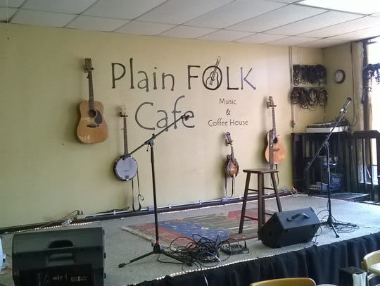 The stage at Plain Folk Cafe in Pleasant Plain.