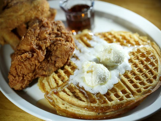 The main course--Trey-Deuce--3 pieces of fried chicken and two waffles.