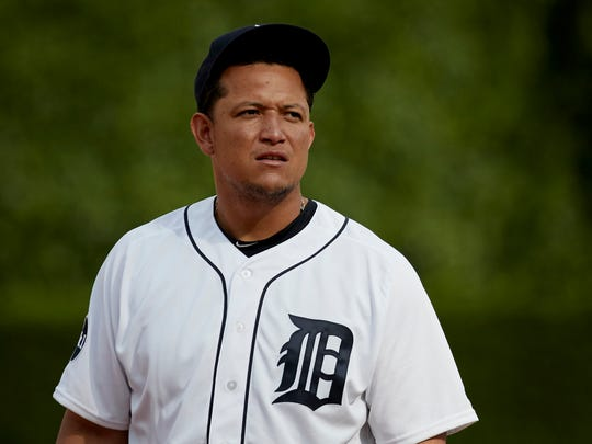 Jun 3, 2017; Detroit, MI, USA; Tigers first baseman Miguel Cabrera looks into the stands after a foul ball hits a fan in the fifth inning at Comerica Park.
