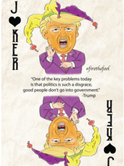 A mock-up of one of the playing cards the three founders
