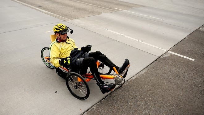 A cyclist on a recumbent bicycle starts the 39th annual Monster Cookie Metric Century Bicycle Ride, on Sunday, April 26, 2015, in Salem. An adaptive bike clinic will be offered on Saturday, Sept. 24, 2016 at Minto-Brown Island Park.