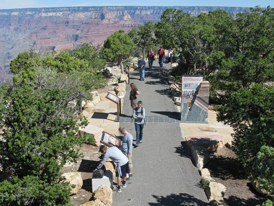 The Trail of Time is an interpretive walking trail that focuses on Grand Canyon's history and geology.