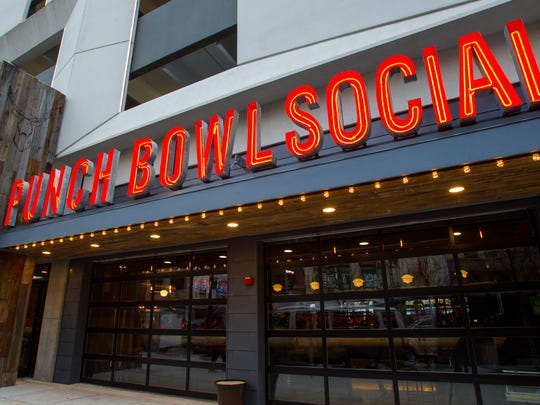 Punch Bowl Social facades look similar no matter the place. Five locations, including Denver, Colo.; Portland, Ore.; and Austin, Texas, are open. Four more, one in Brooklyn, N.Y., are in development.