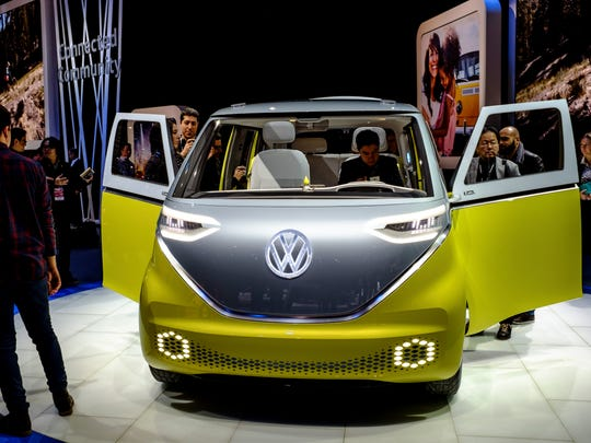 The Volkswagen ID Buzz concept car at the 2017 North American International Auto Show in Detroit.