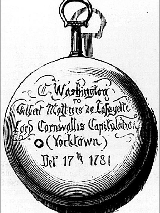 Illustration of Inscription Side of Watch presented to Lafayette by Washington (Library of Congress Prints and Photographs Division)