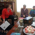 """From left Barbara Mow, Joan Engel, Lana Hiller, and Natalee Fogel discuss """"The Light Between Oceans,"""" a novel by M. L. Stedman during the monthly book club meeting in Briarcliff Manor on April 9, 2014."""