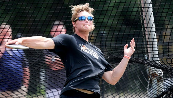 MTCS' Sam Mathis participates in the 2016 TSSAA Boys Track & Field Championships Class A-AA State Discus Friday.