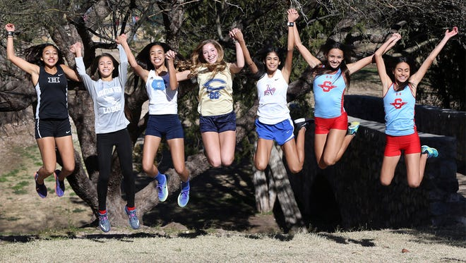 The Times All City girls Cross Country Team are from Left: Andrea Abeyta of Hanks, Michelle Estrada of Mountain View, Skyler Goodman of Chapin, Jennelle Jaeger-Darakjy of Coronado, Daphne Duran of Americas, Jessica Dominguez and Natalie Gomez of Socorro.