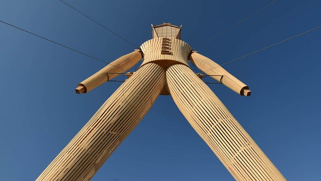The man stands ready to burn in 2014 at Burning Man in Nevada.