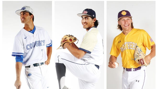 The finalists for The News-Press All-Area Baseball Player of the Year are (from left) Giovanni DiGiacomo, Max Rippl, and Robert Wegielnik.