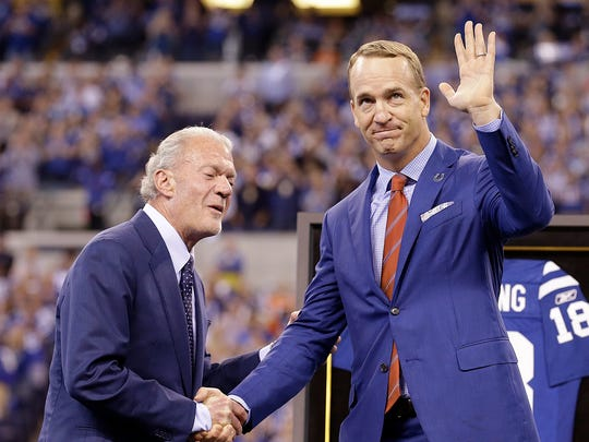 Former Colts quarterback Peyton Manning and team owner Jim Irsay during the halftime festivities of their game against the San Francisco 49ers at Lucas Oil Stadium, Oct 8, 2017.