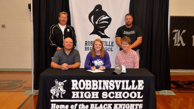 Robbinsville senior Lauren McGuire has signed to play college softball for Young Harris (Ga.).