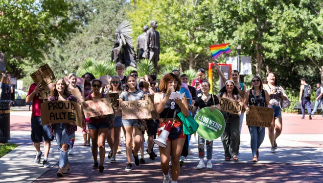 LGBTQIA+ students and allies marched to the capital in support of their rights.
