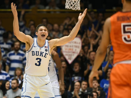 Duke Blue Devils guard Grayson Allen is an emotional player, and it shows on the court.