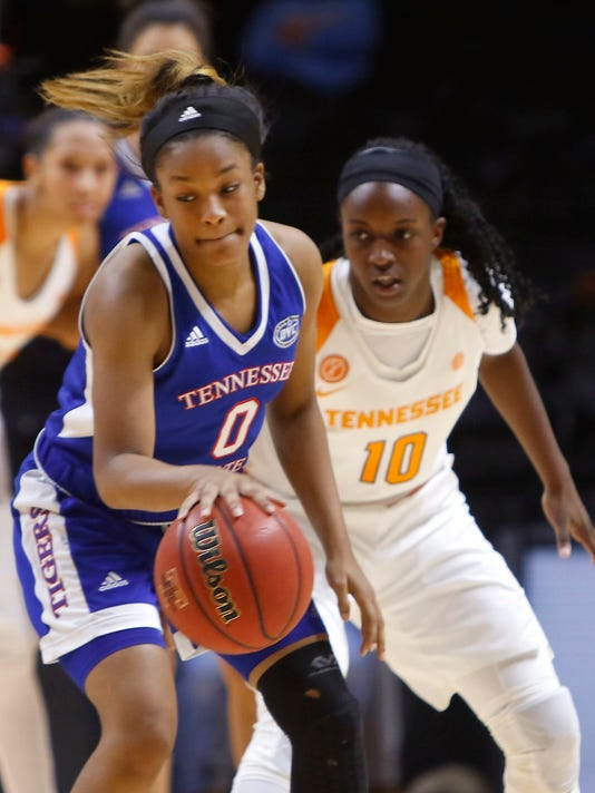 Tennessee State's Ciara Pettis (0) drives the ball against Tennessee's Meme Jackson (10) during an NCAA college basketball game Wednesday, Nov. 30, 2016, in Knoxville, Tenn. (Daryl Sullivan/The Daily Times via AP)
