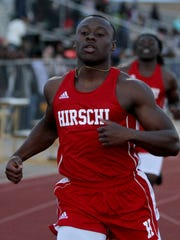 Hirschi's Roman Turner finishes the 100 meter run Friday, March 3, 2017, in the Wichita Falls ISD Invitational at Garnett Stadium. Turner finished with a time of 10.76.