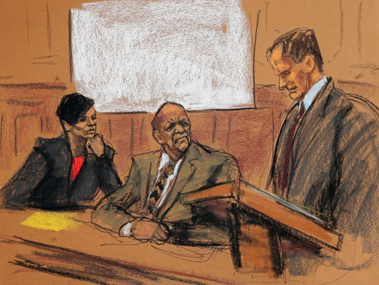 Courtroom sketch of Bill Cosby (C), attorney Brian