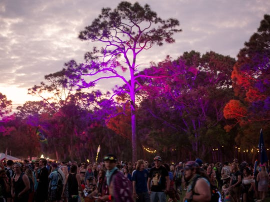 People attend the second day of the Okeechobee Music