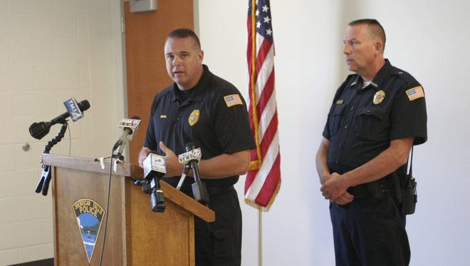 Sheboygan Falls Chief of Police Steven Riffel and Deputy Chief of Police Steven Ross address the media during a press conference Friday regarding the death of a two year old in Sheboygan Falls on Thursday.