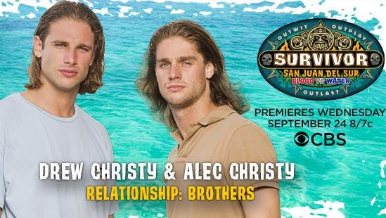 """Brothers Alec and Drew Christy, the former an FGCU student, are competing on """"Survivor."""""""