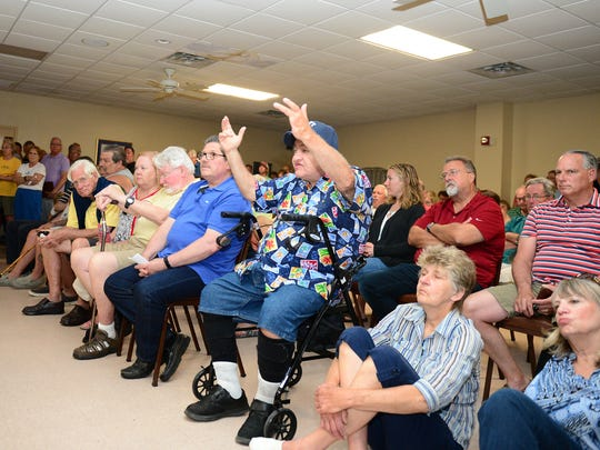 Long Neck residents attended a public meeting at the Indian River Fire House on Monday, May 1, 2017 to voice their concerns to Sen. Gerald Hocker and Rep. Ruth Briggs-King.