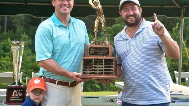 Barnwell's David Lott, right, won the 11th annual City of Aiken Amateur Championship in a playoff.