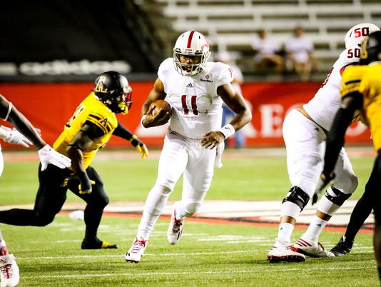 in the football game between ULL and Appalachian State at Cajun Field in Lafayette, Louisiana on October 15, 2016.