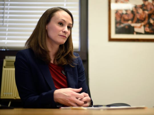 In this Feb. 13, 2017, file photo, Missouri's first lady and University of Missouri Assistant Professor Sheena Greitens sits at her desk for an interview in Columbia, Mo.