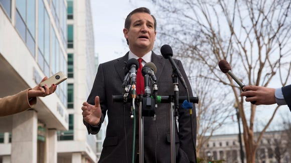 Sen. Ted Cruz, R-Texas, speaks to the media about events